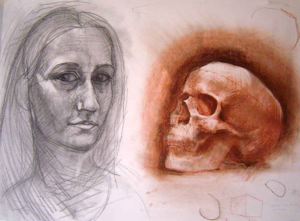 Portrait and Skull